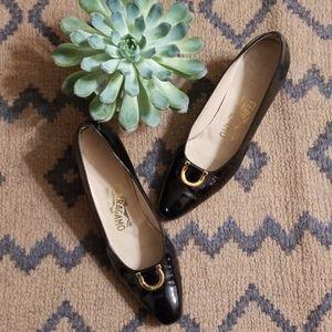 Salvatore Ferragamo Black Classic Patent Heels